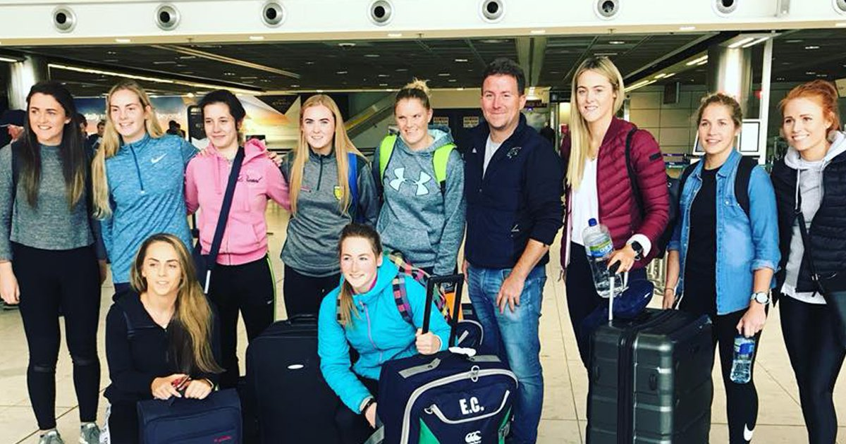 Ten Irishwomen embark on a trip to Melbourne to trial for the AFLW. Considine pictured front/centre.