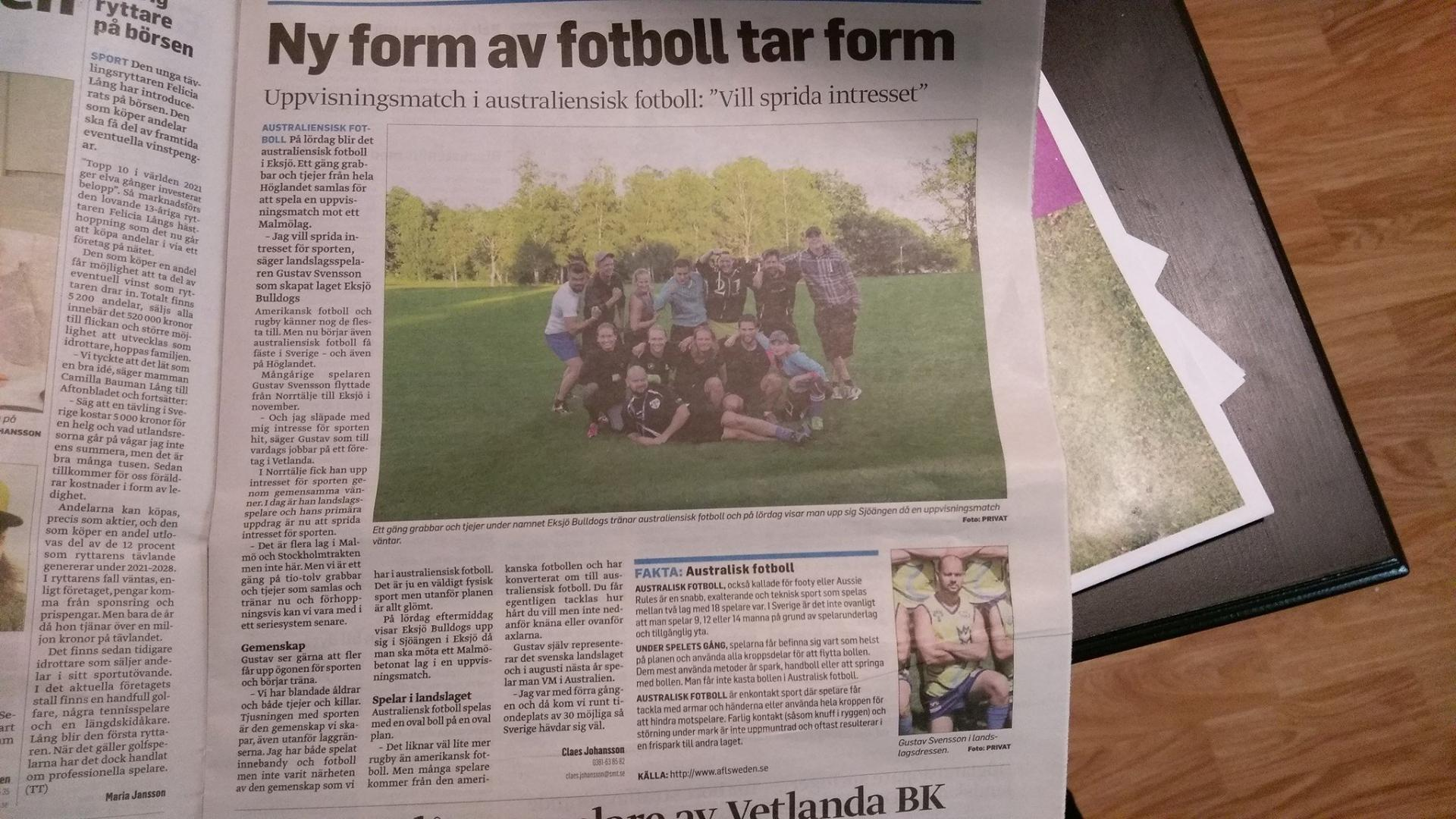 Bulldogs beginning in the local paper in 2016.