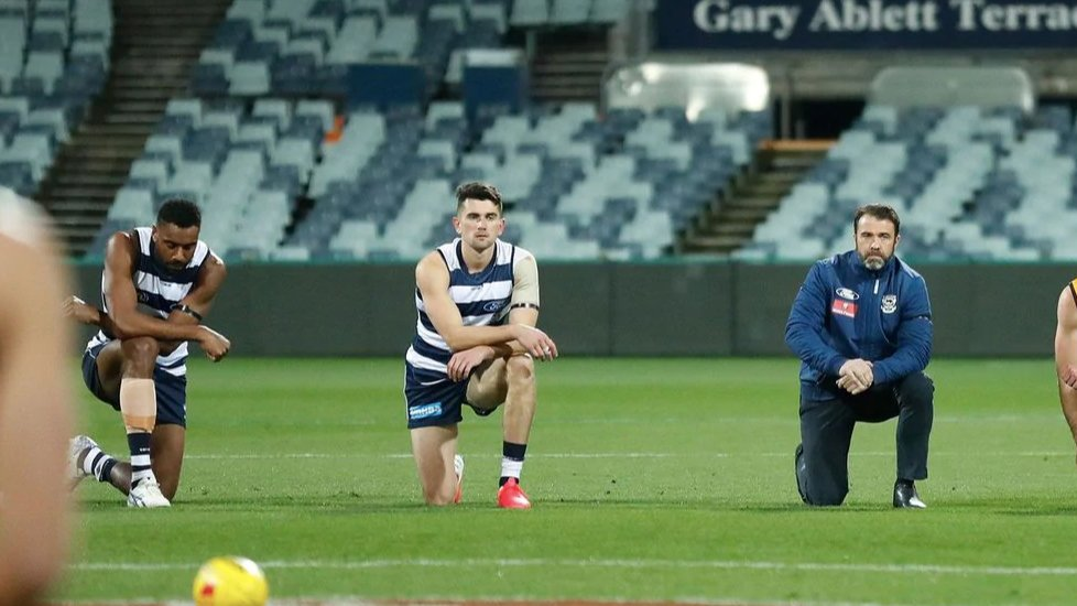 O'Connor pictured as both sides kneel pre-game for equality. Photo: Geelong Cats.