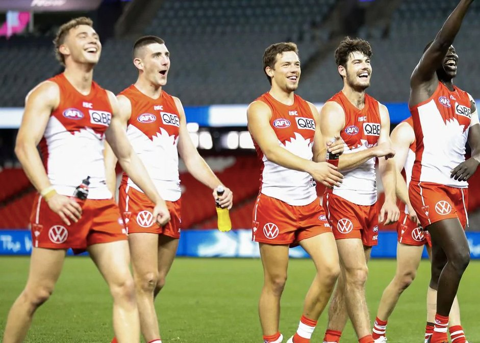 O'Riordan (second from left) celebrating with teammates. Photo: Sydney Swans.