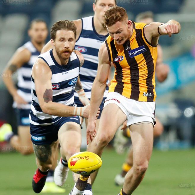 Tuohy applying the pressure. Photo: AFL Photos.