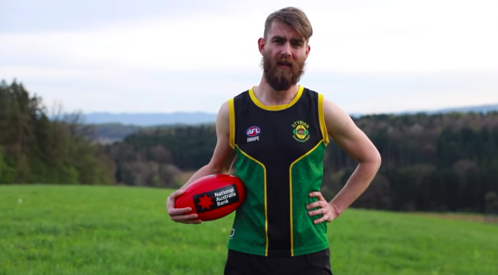 Jud (pictured) involved in the announcement of National Australia Bank as official Ball Partner of AFL Europe earlier this year.