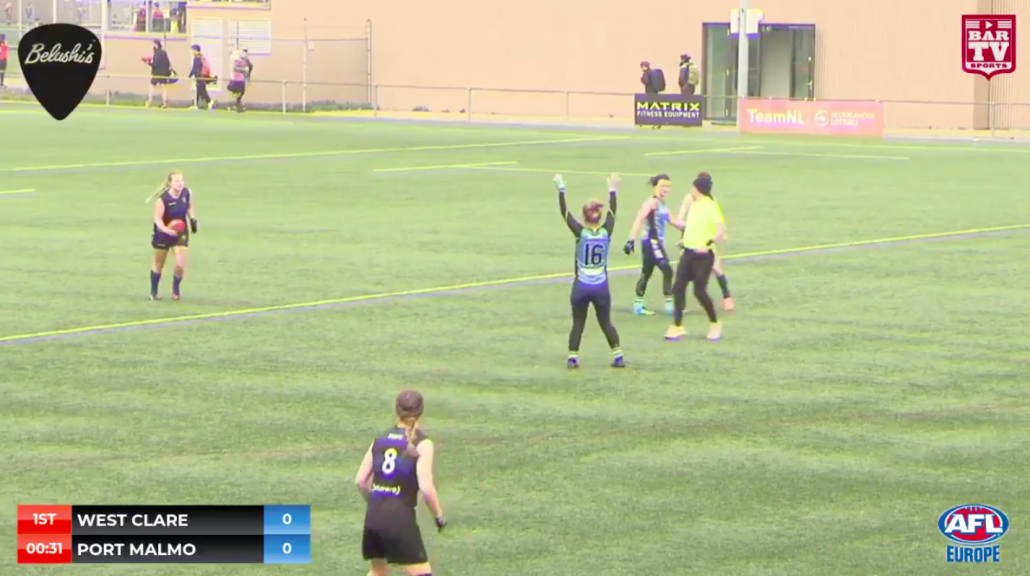 Port Malmö on the live stream at AFL Europe's Champions League in 2019.